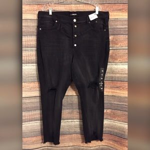 Express high rise chewed hem button fly jeans